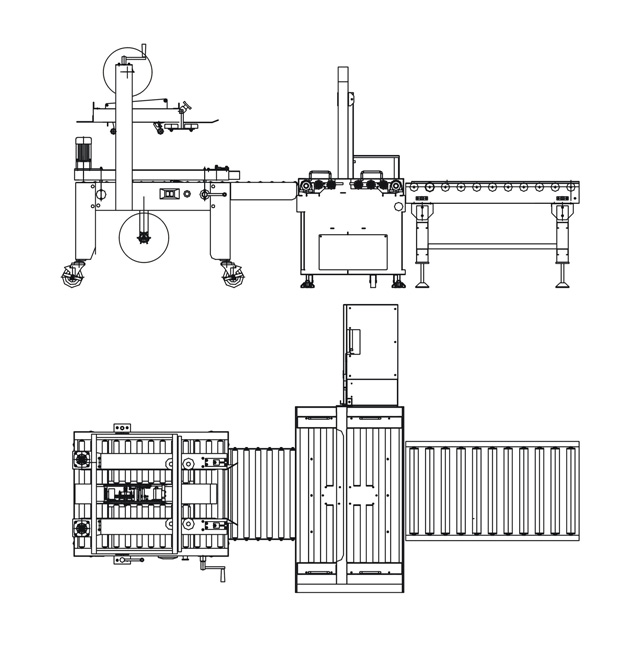 Máy dán và đóng đai thùng carton tự động